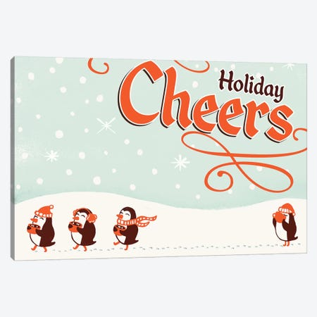 Holiday Cheers Penguins Cocoa Canvas Print #TWG39} by The Whiskey Ginger Canvas Art Print