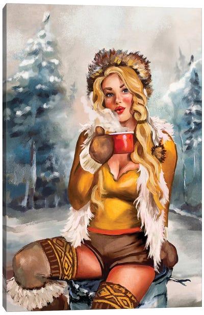 Apres Ski Gold Cocoa Pinup Canvas Art Print