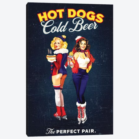 Hot Dogs Beer Hockey Canvas Print #TWG40} by The Whiskey Ginger Canvas Art