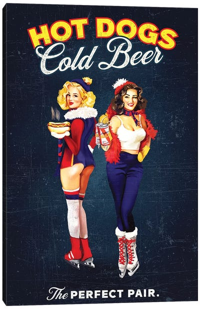 Hot Dogs Beer Hockey Canvas Art Print