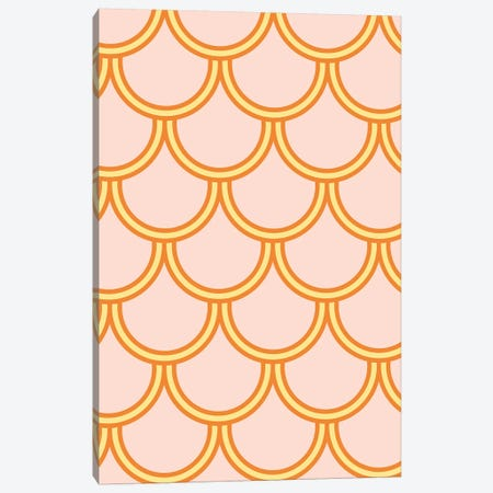 Mermaid Peach Scale Pattern Canvas Print #TWG45} by The Whiskey Ginger Art Print