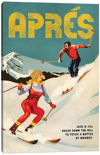 Apres Ski Jack And Jill Whiskey Canvas Art Print