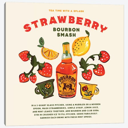 Strawberry Bourbon Recipe Canvas Print #TWG72} by The Whiskey Ginger Canvas Print