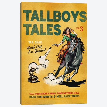 Tallboys Tales Sharmless Snakes Cover Canvas Print #TWG76} by The Whiskey Ginger Canvas Artwork