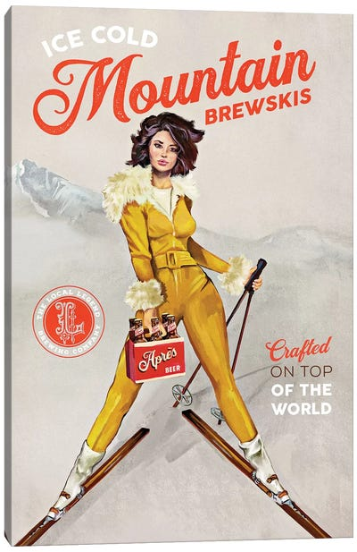 Apres Ski Mountain Brewski Canvas Art Print