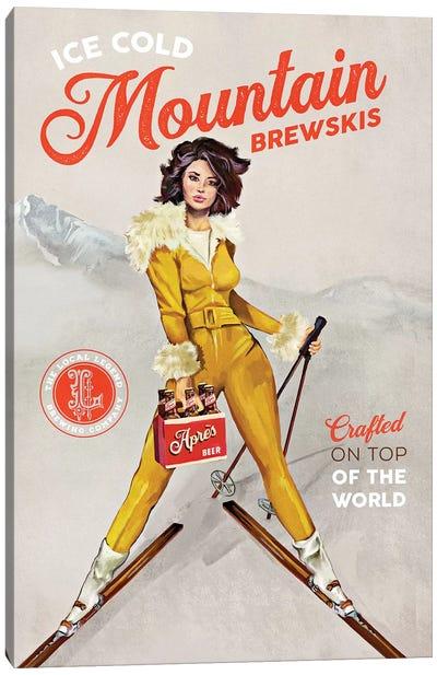Apres Ski Mountain Brewski Canvas Art Print