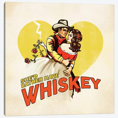 Western Rather Have Whiskey Canvas Print #TWG85} by The Whiskey Ginger Art Print