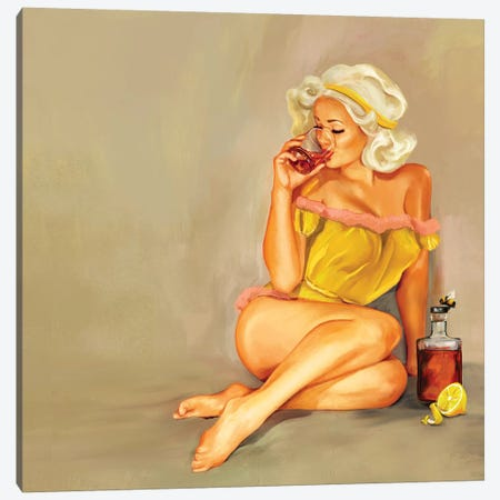 Whiskey Honey Pinup Canvas Print #TWG88} by The Whiskey Ginger Canvas Artwork