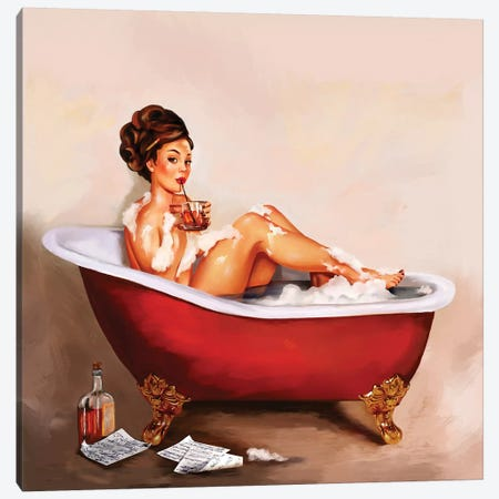Whiskey Neat Bath Pinup Canvas Print #TWG90} by The Whiskey Ginger Canvas Art Print