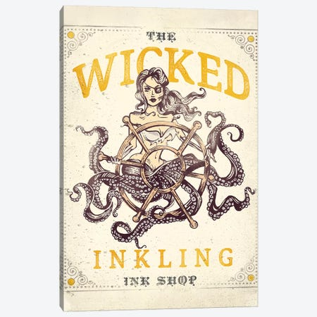 Wicked Inkling Octopus Lady Canvas Print #TWG91} by The Whiskey Ginger Canvas Print