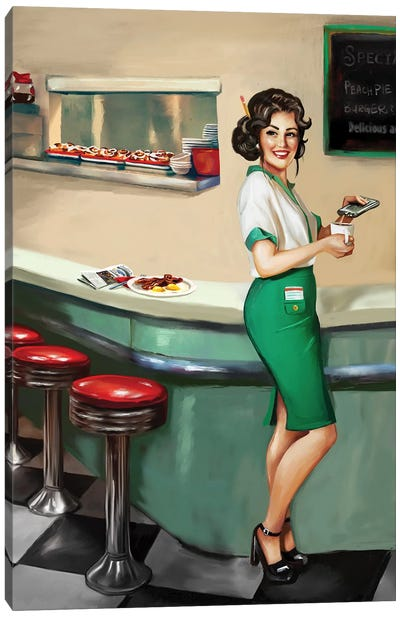 Diner Waitress Canvas Art Print