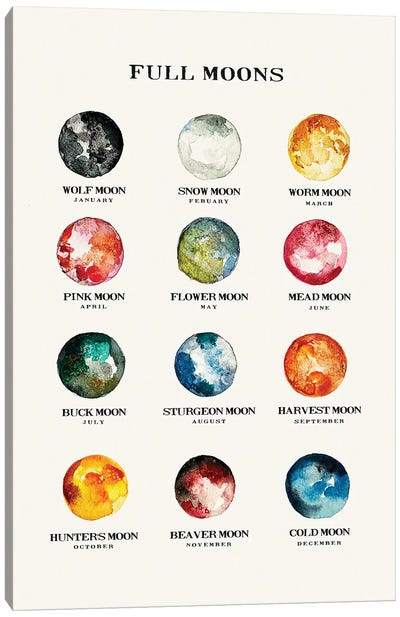 Full Moons Chart Watercolor Canvas Art Print
