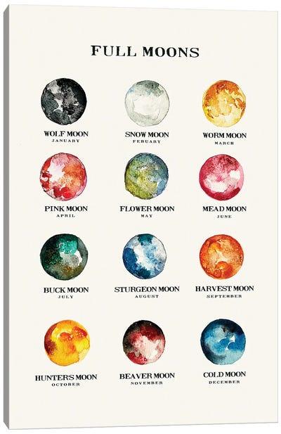 Full Moons Chart Watercolor Canvas Art Print