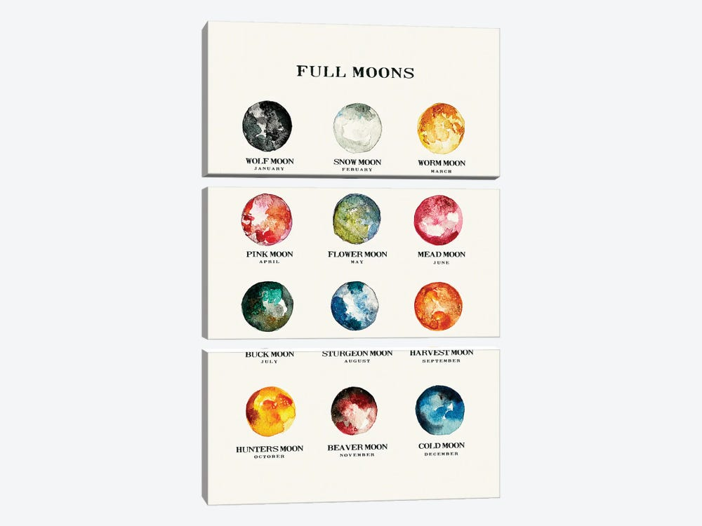 Full Moons Chart Watercolor by The Whiskey Ginger 3-piece Canvas Wall Art