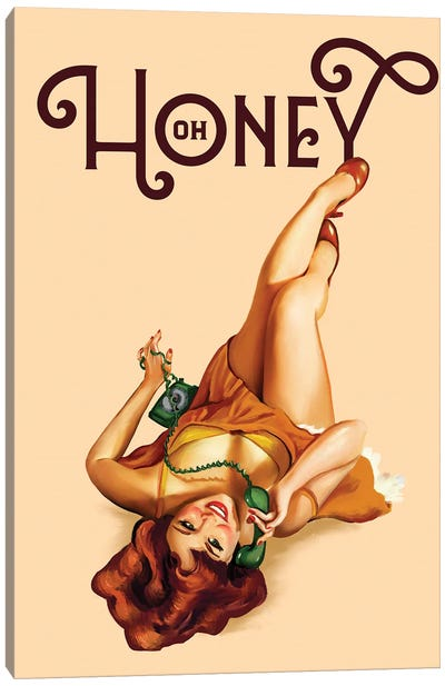 Oh Honey Telephone Ginger Canvas Art Print