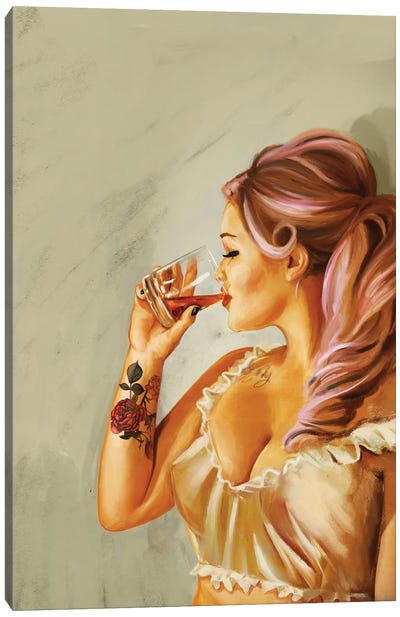 Pin Up Rose Tattoo Canvas Art Print