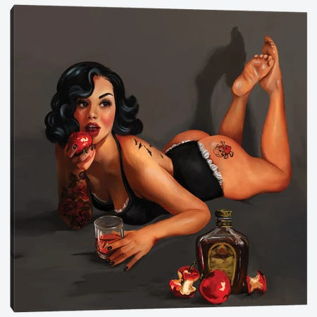 Poison Apple Pin Up Canvas Print #TWG99} by The Whiskey Ginger Canvas Print