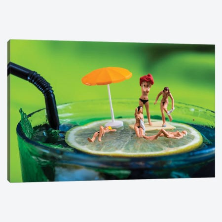 Cocktail Beach Canvas Print #TWL11} by Tiny Wasteland Canvas Wall Art