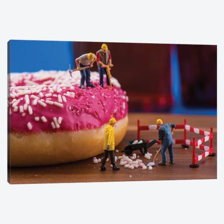 Dounut Cleaning Canvas Print #TWL12} by Tiny Wasteland Canvas Artwork