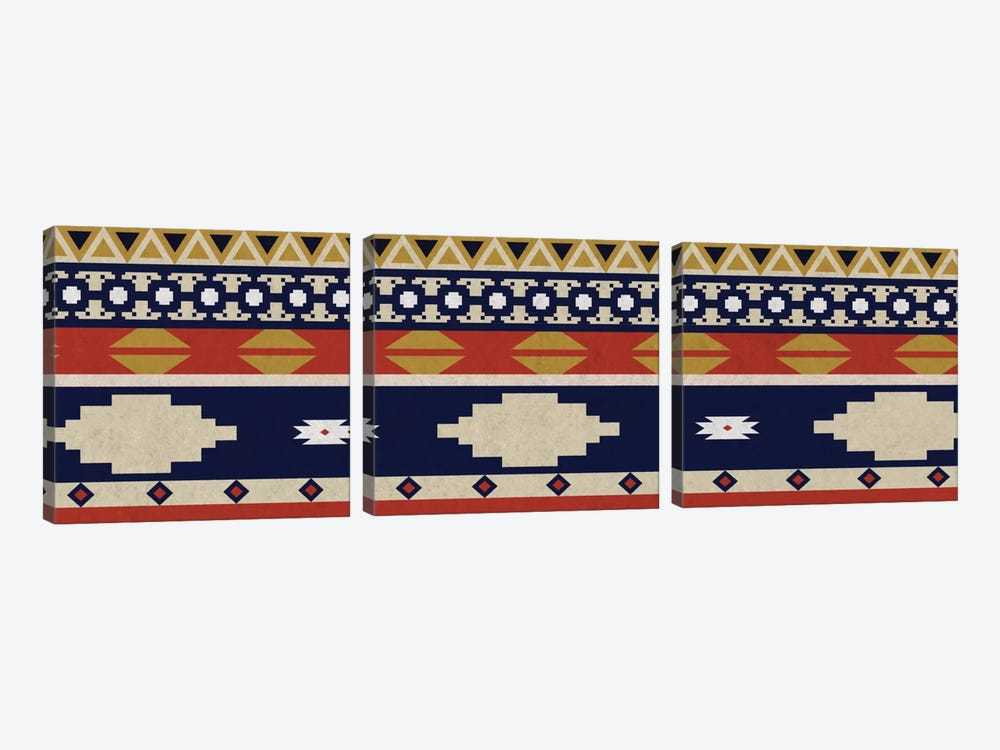 Blue & Orange Tribal Pattern I by 5by5collective 3-piece Canvas Art