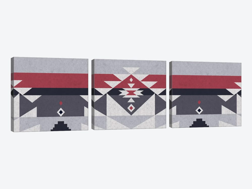 Wolf Gray Tribal Pattern by 5by5collective 3-piece Canvas Print