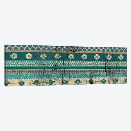 Teal Tribal Pattern on Wood Canvas Print #TXT12} by 5by5collective Canvas Wall Art