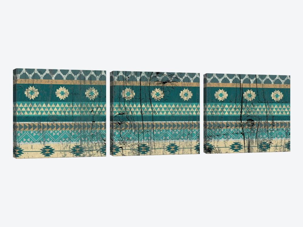 Teal Tribal Pattern on Wood by 5by5collective 3-piece Canvas Wall Art