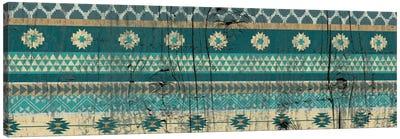 Teal Tribal Pattern on Wood Canvas Art Print