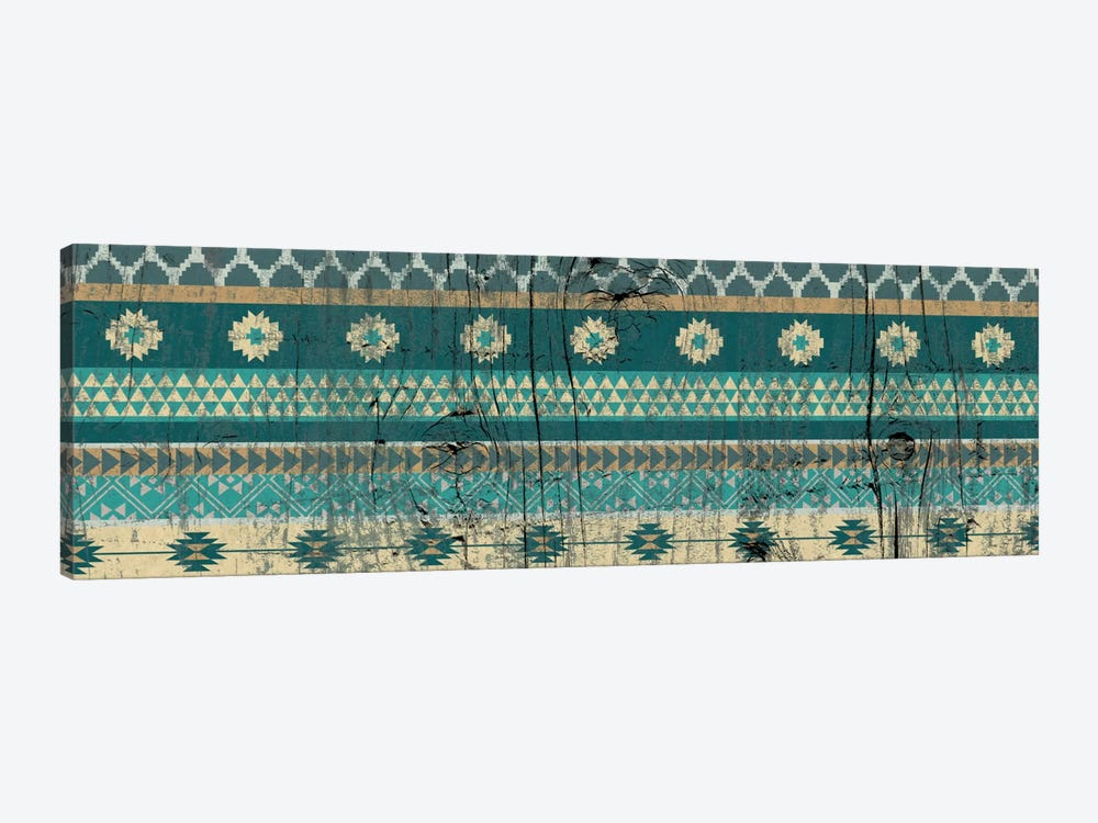 Teal Tribal Pattern on Wood by 5by5collective 1-piece Canvas Wall Art