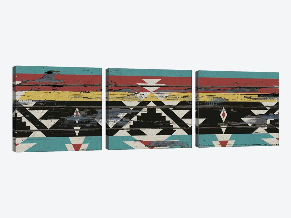 Multicolor Tribal Pattern on Wood by 5by5collective 3-piece Canvas Art Print