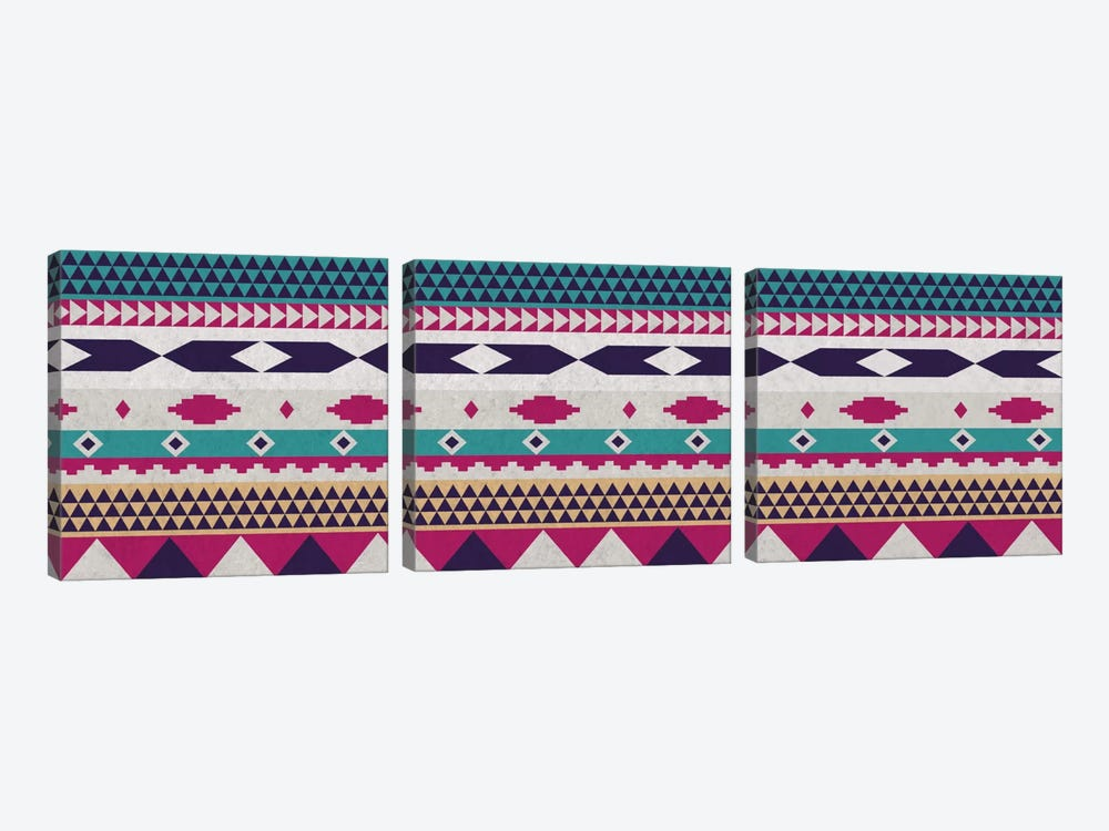 Purple & Blue Tribal Pattern by 5by5collective 3-piece Canvas Wall Art