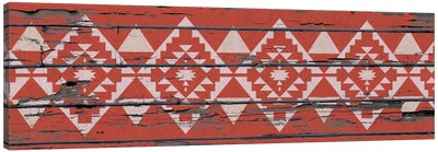Red Tribal Pattern on Wood Canvas Art Print