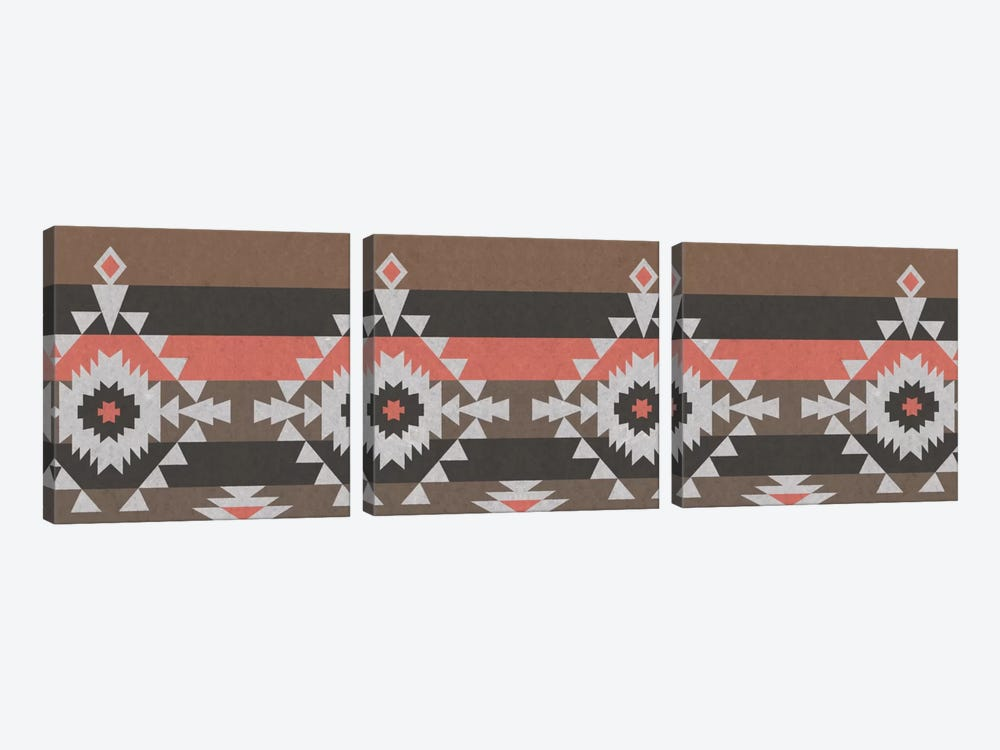 Grey, Black & Red Tribal Pattern I by 5by5collective 3-piece Canvas Wall Art
