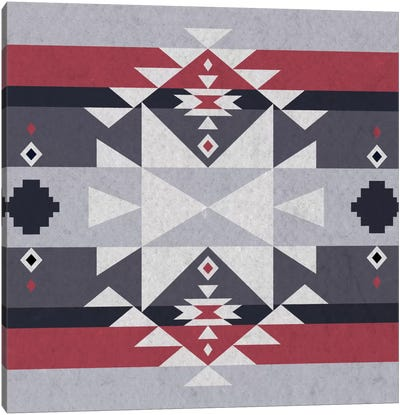 Grey, Black & Red Tribal Pattern II Canvas Art Print