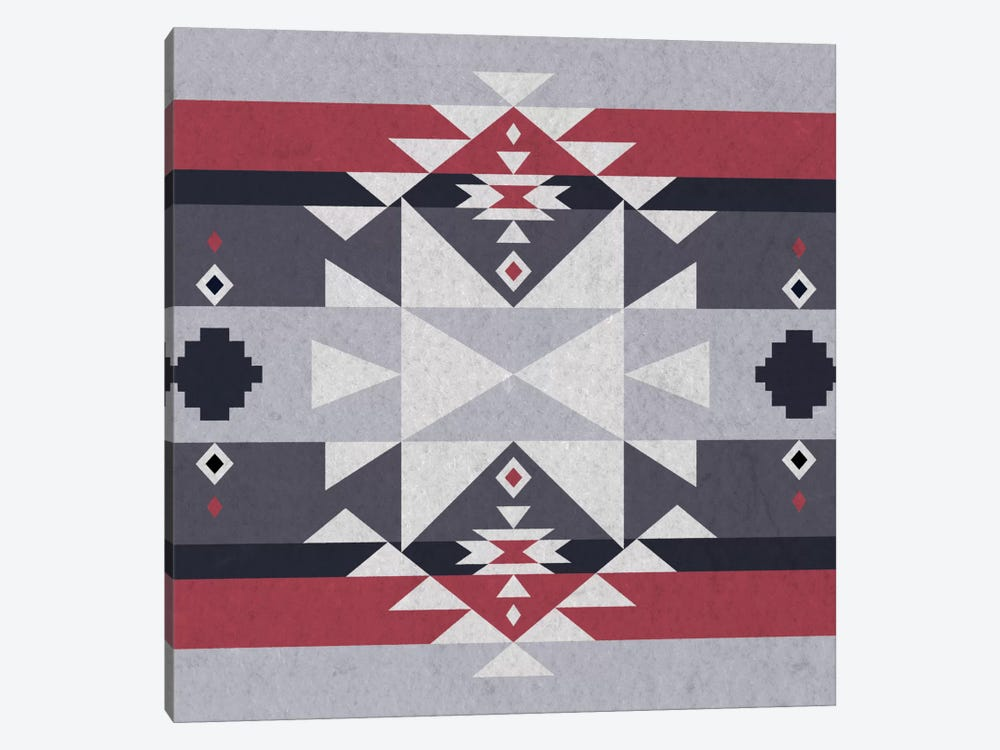 Grey, Black & Red Tribal Pattern II by 5by5collective 1-piece Canvas Art Print