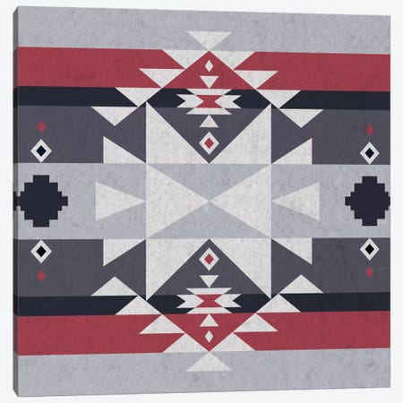 Grey, Black & Red Tribal Pattern II Canvas Print #TXT17} by 5by5collective Canvas Art Print