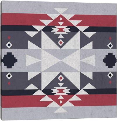 Grey, Black & Red Tribal Pattern II Canvas Art Print