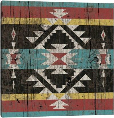 Sky Blue Tribal Pattern on Wood Canvas Art Print