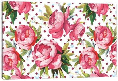 Floral Polka Dots #1 Canvas Art Print