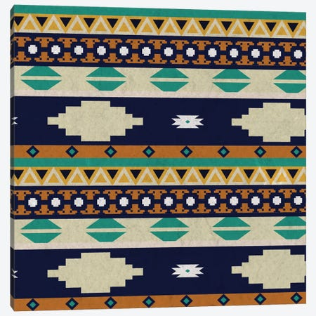 Calm Blue Tribal Pattern Canvas Print #TXT22} by 5by5collective Canvas Print