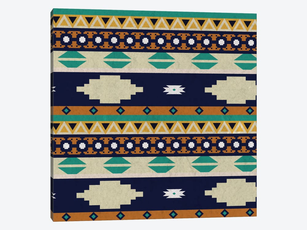 Calm Blue Tribal Pattern by 5by5collective 1-piece Canvas Art Print
