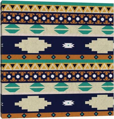 Calm Blue Tribal Pattern Canvas Art Print
