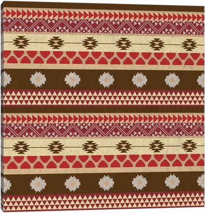 Brown & Red Tribal Pattern Canvas Art Print