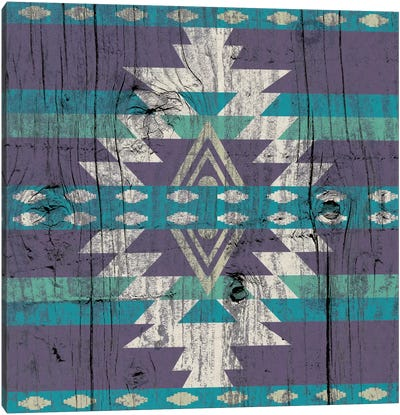 Midnight Tribal Pattern on Wood Canvas Art Print