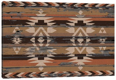 Sands Tribal Pattern on Wood Canvas Art Print