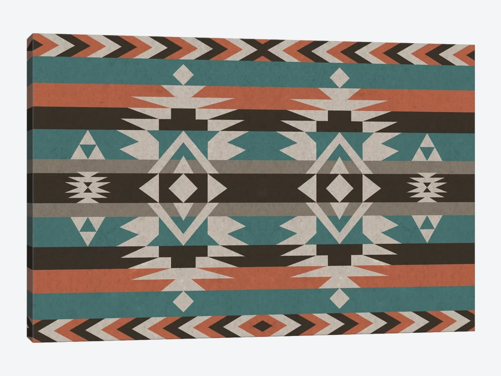 Teal & Orange Tribal Pattern I by 5by5collective 1-piece Canvas Artwork