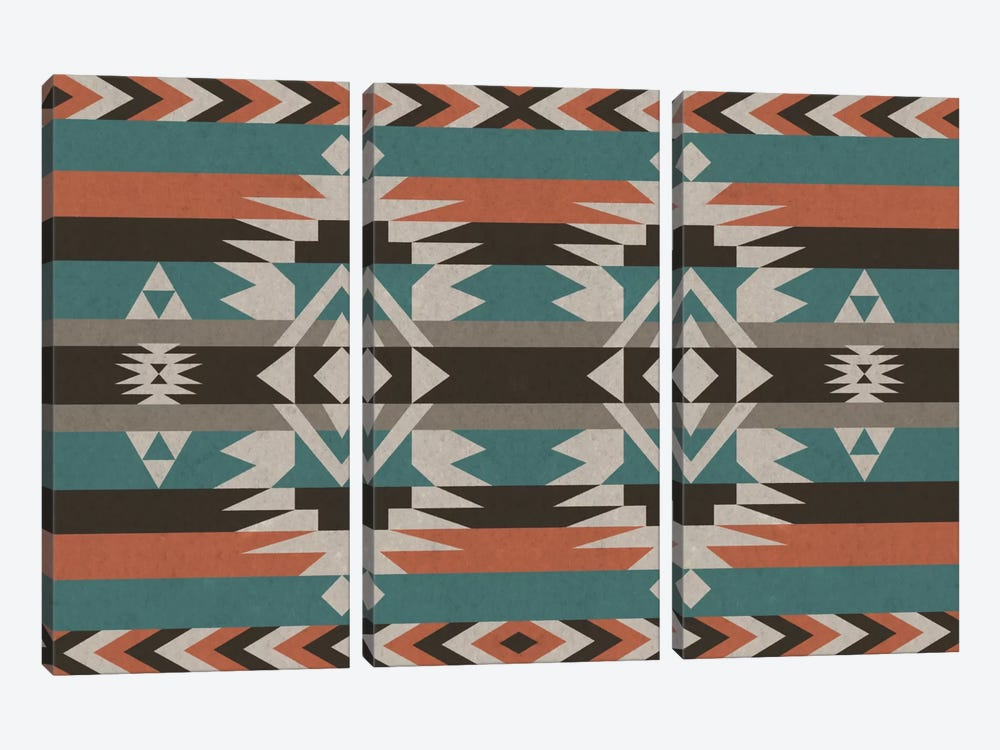 Teal & Orange Tribal Pattern I by 5by5collective 3-piece Canvas Wall Art
