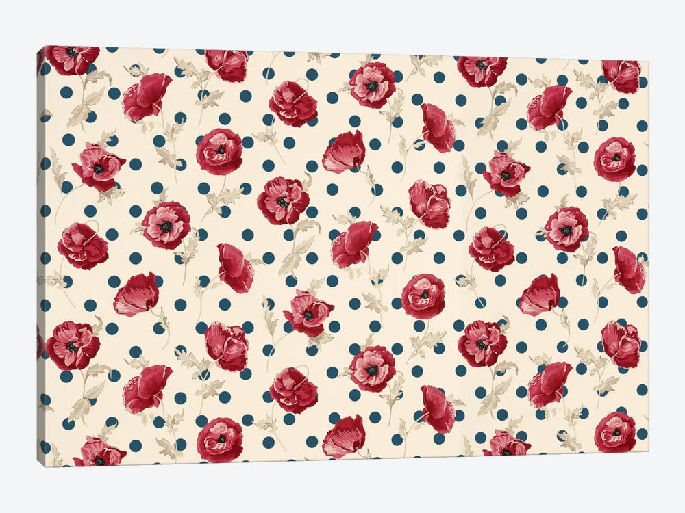 Floral Polka Dots #2 by iCanvas 1-piece Art Print