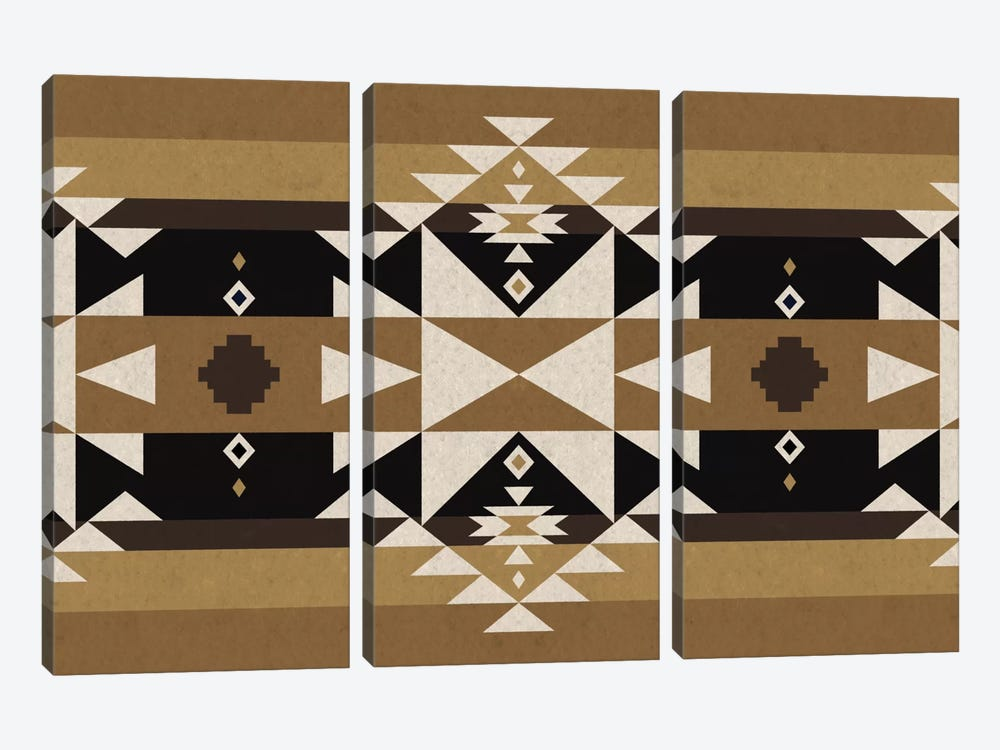 Sandy Black Tribal Pattern by 5by5collective 3-piece Canvas Wall Art