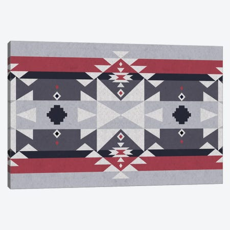 Red & Gray Tribal Pattern Canvas Print #TXT32} by 5by5collective Canvas Artwork